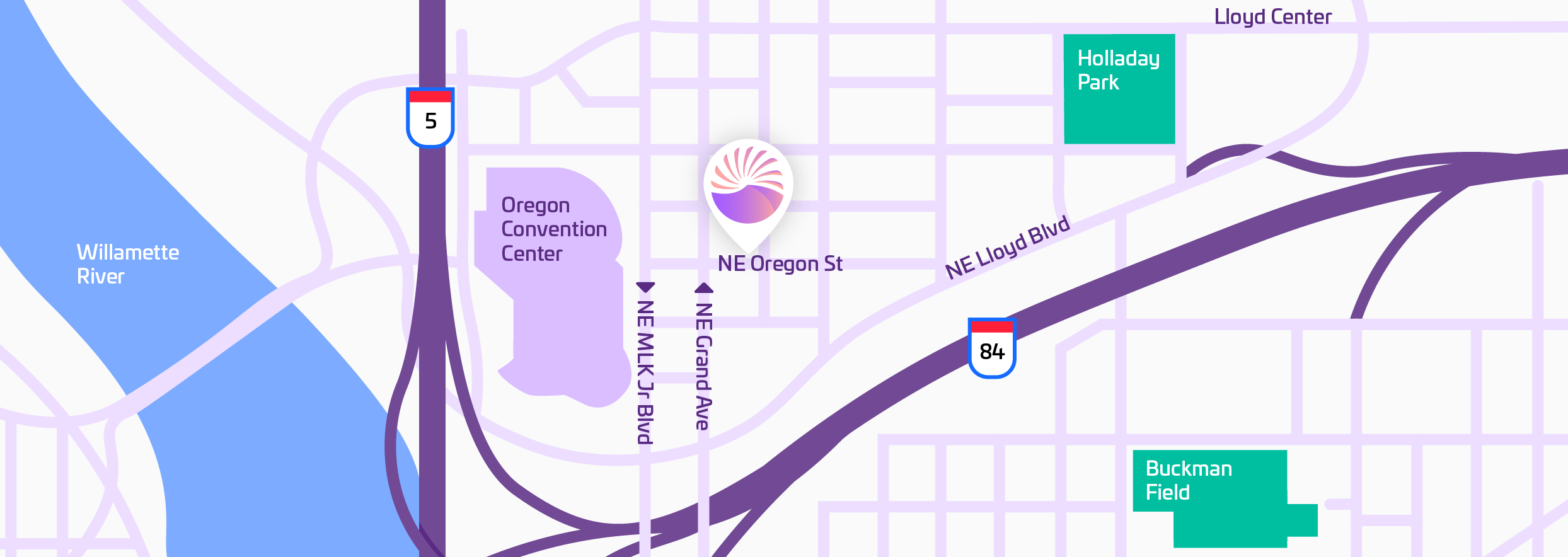 Map of the location of the RISE office in Portland